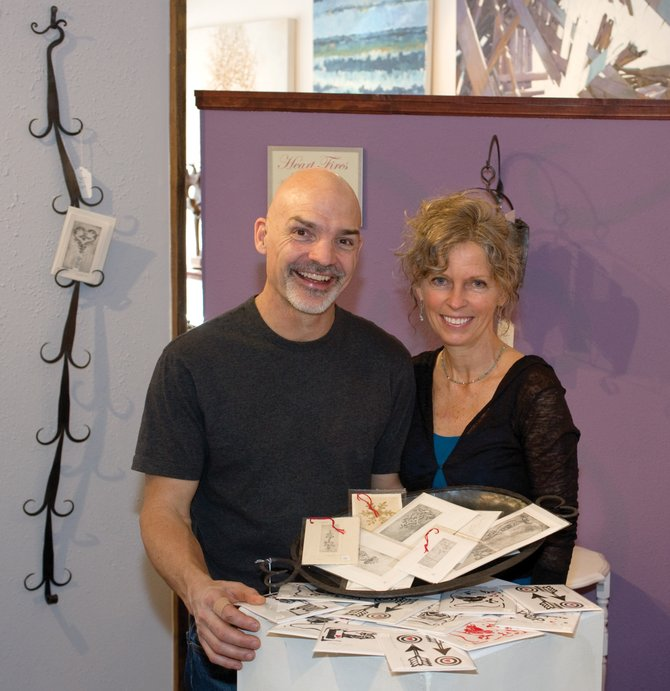 Von and Molly Wilson will combine their efforts for a new show at the Center for Visual Arts in downtown Steamboat Springs this month. The show, which features Molly's hand-printed cards and Von's fine art blacksmithing, opens with a reception from 5 to 9 p.m. today as part of First Friday Artwalk.