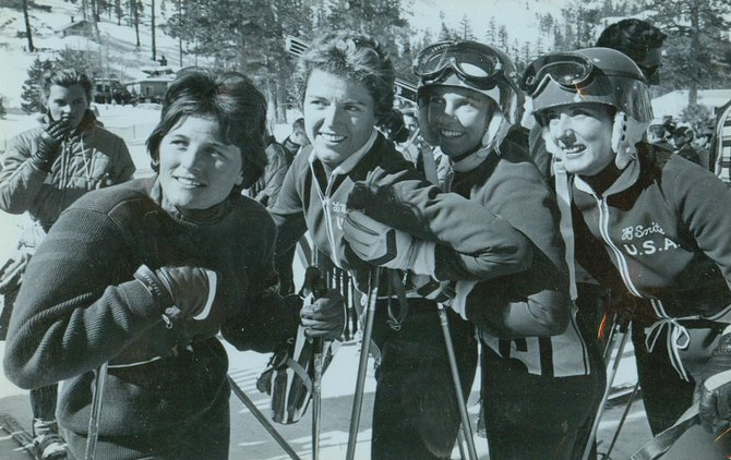 Anneliese Freeman, from left, Linda Meyers, Joan Hannah and Betsy Snite, with Andrea Mead Lawrence in the background, are pictured at Squaw Valley, Calif., in 1960 during Downhill Training Day.
