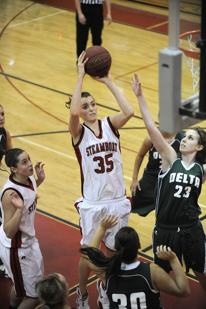 Steamboat Springs High School senior Colleen King puts up a shot during Saturday's game against Delta. The Steamboat girls won, 46-30.