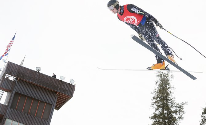 Rolf Wilson flies during the winning jump of the Pro Alpine Flying Gelande Ski Jumping Championships at Howelsen Hill on Sunday in Steamboat Springs.