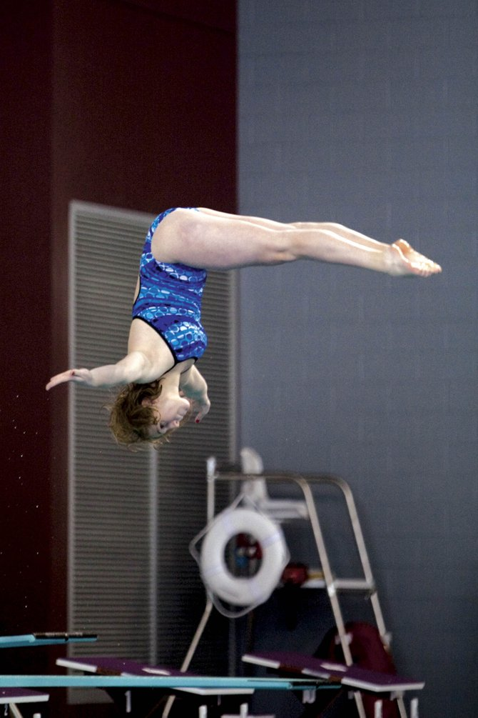 Steamboat Springs High School senior Genna Bradley competes at the regional diving meet in Grand Junction last weekend. Bradley had a season-best score and won her fourth consecutive regional meet. She competes Saturday at Mountain View High School in Loveland in the Class 4A diving state championships.