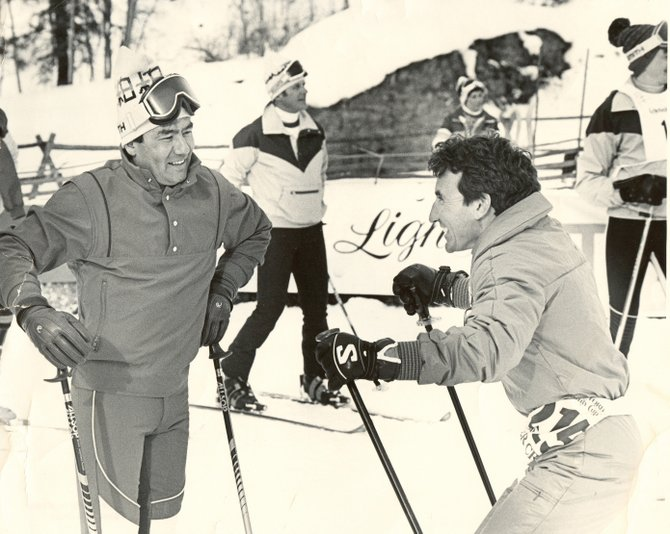 Hank Kashiwa, left, and Jimmie Heuga talk about skiing in this undated photo. Kashiwa, who lived in Steamboat Springs from the mid-'70s into the early 2000s, went on to serve as president of Volant Ski Corp.