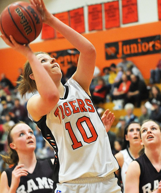 Hayden High School senior Rachael Koehler lifts a shot Friday as the Tigers knocked off the visiting Soroco Rams, 70-54.