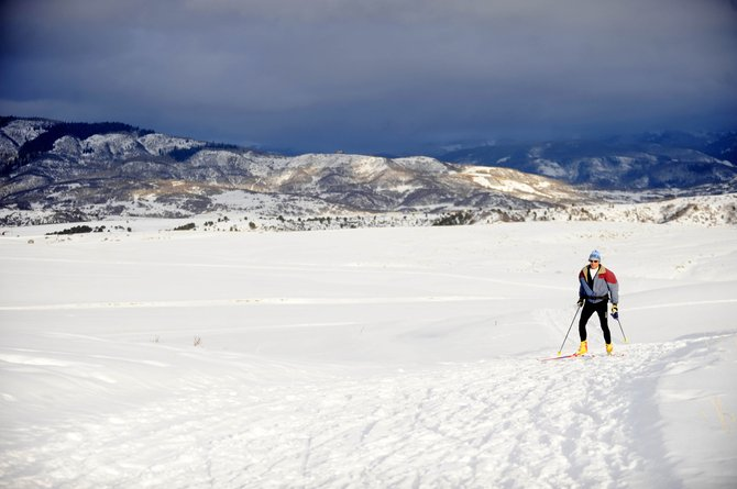 Steamboat Springs resident Chris Koebrick skis Thursday on the Nordic trails maintained on the Steamboat 700 property.