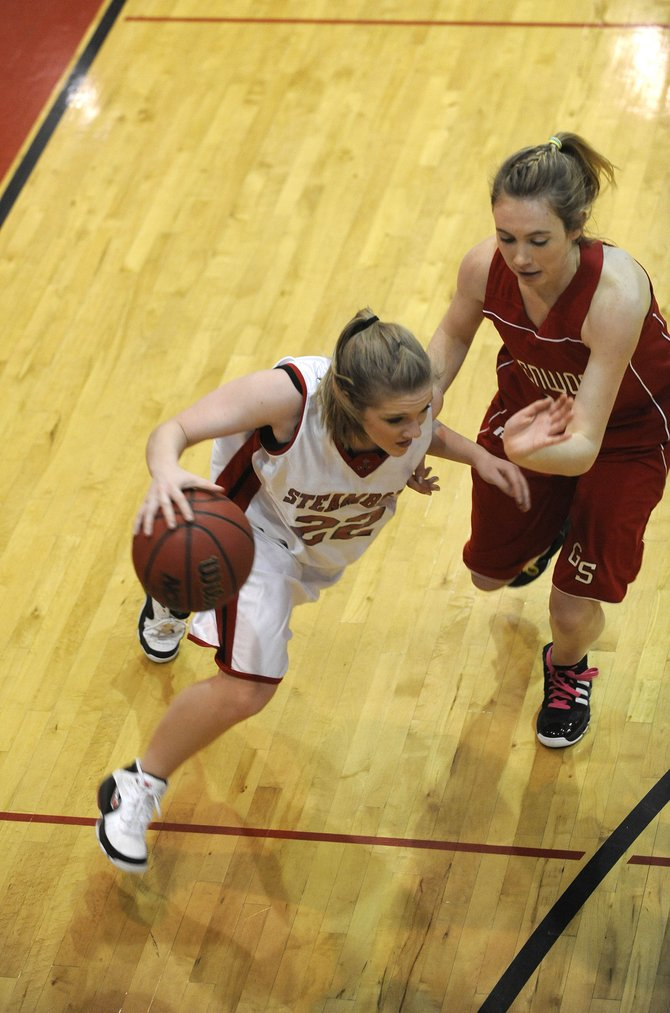 Steamboat Springs junior Megan Rae drives toward the basket during Saturday's game against Glenwood Springs. Steamboat won, 55-38.
