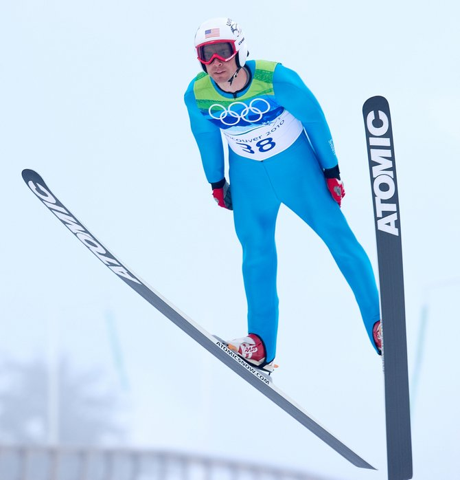 Steamboat Springs' Johnny Spillane jumps Sunday morning in the Normal Hill Individual Gundersen event at Whistler Olympic Park in British Columbia. Spillane, who spent the week getting used to new skis, had one of his best jumps and is currently sitting in fourth place headed into this afternoon's 10K cross-country race.