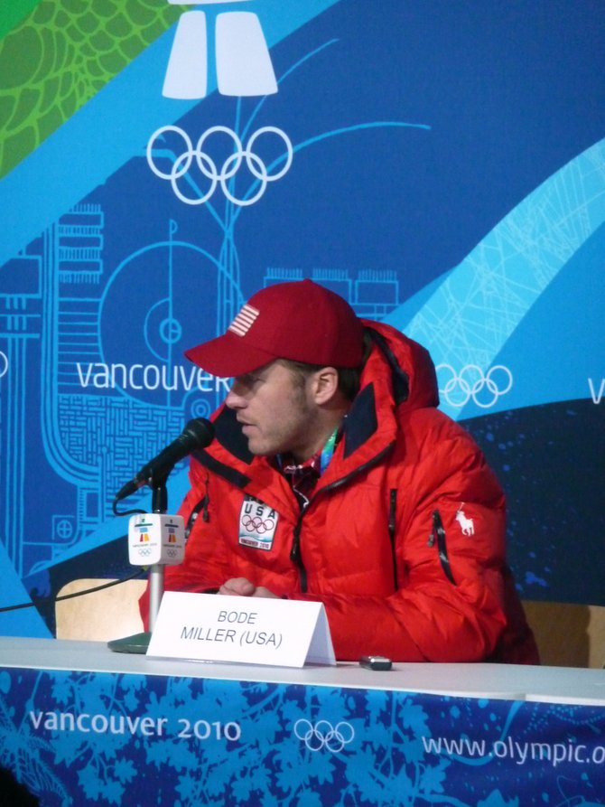 U.S. skier Bode Miller talks with the media after winning a bronze medal in the men's downhill  Monday in Whistler, British Columbia. It was Miller's third Olympic Alpine medal, making him the most decorated American Alpine skier ever.