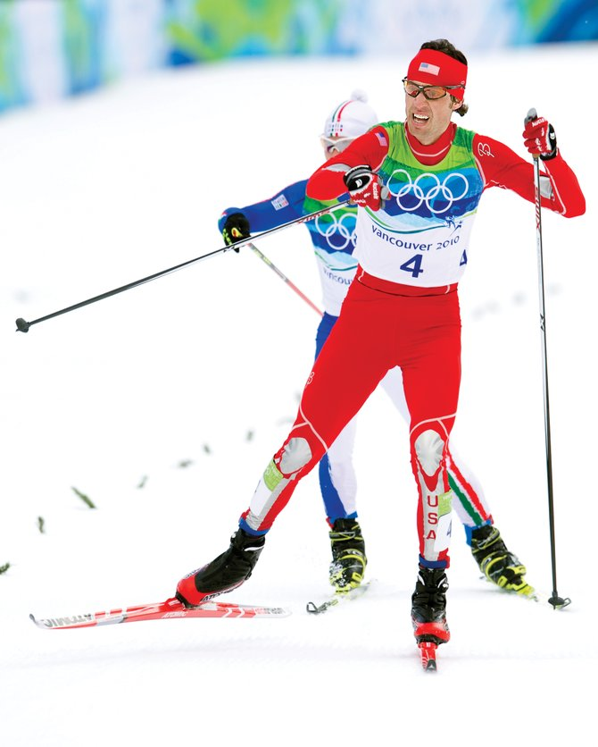Steamboat Springs Nordic combined skier Johnny Spillane crosses the finish line of Sunday's Nordic combined event at the Whistler Olympic Park in British Columbia. The Nordic team now looks forward to the team event Feb. 23.