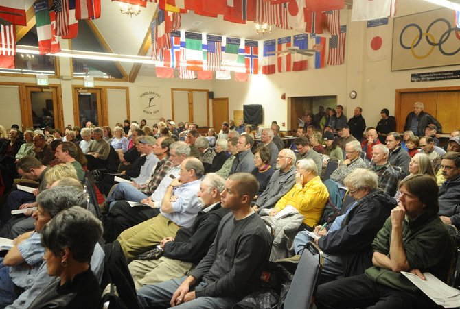 People pack Olympian Hall at Howelsen Lodge for Thursday night's Steamboat 700 annexation forum.