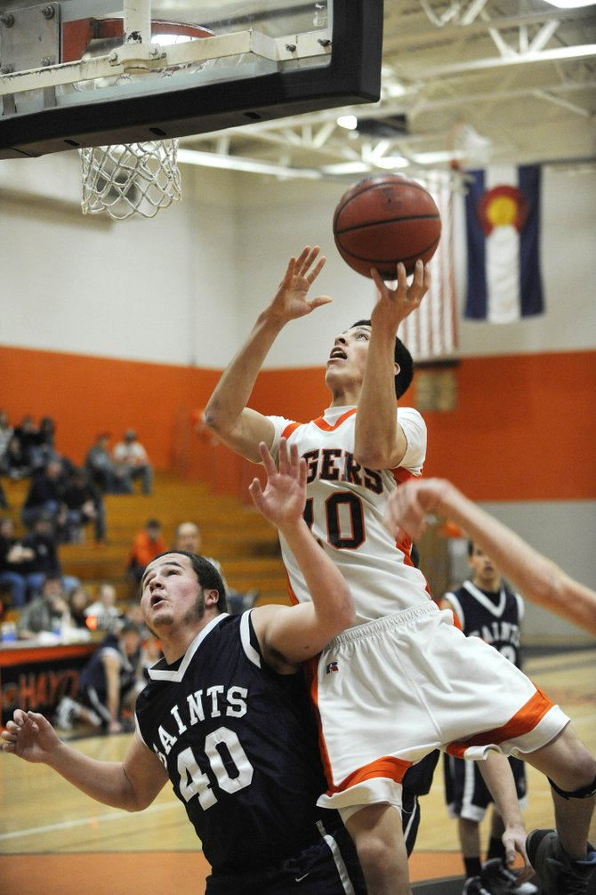 Hayden High School senior Rene Valdez goes up for shot during the first half of Saturday's game against Vail Christian. The boys team won, 62-54.
