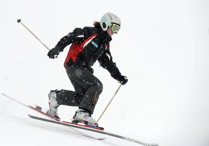 Steamboat Springs Winter Sports Club Telemark skier Zoe Taylor takes a training run Friday at Steamboat Ski Area.