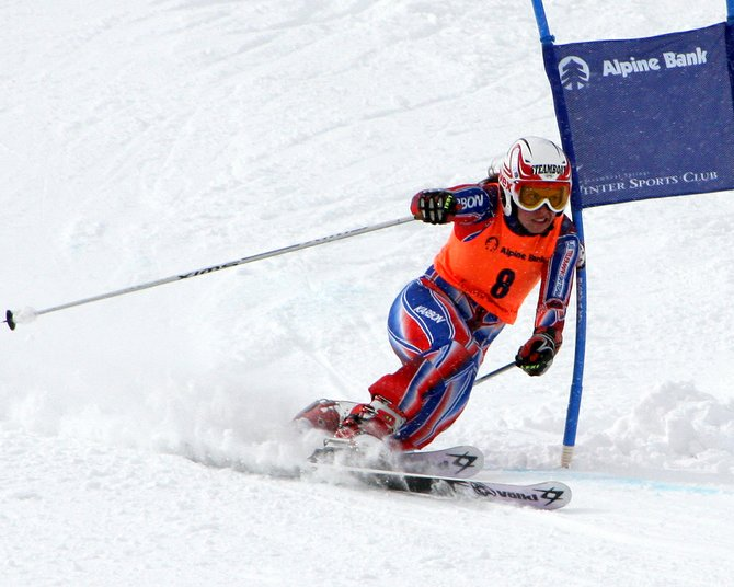 Lorin Paley rounds a gate on her way to a second-place finish in the sprint classic race at the Telemark World Cup held at Howelsen Hill on Sunday.
