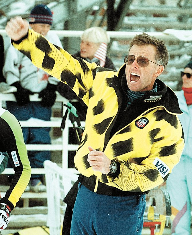 Tom Steitz cheers at one of the Nordic combined first World Cup events in the 1990s.