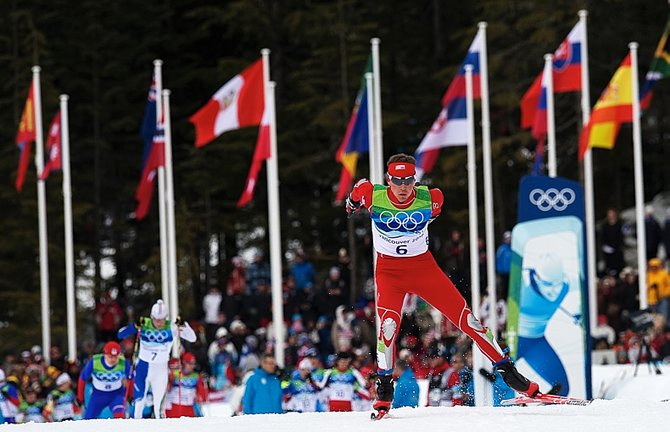 U.S. Nordic Combined Ski Team member Billy Demong, who lived and trained in Steamboat Springs, races out of the start area of the 10-kilometer race in Thursday's individual large hill competition at Whistler Olympic Park in Whistler, British Columbia. Demong raced to gold in the event and teammate Johnny Spillane was second.
