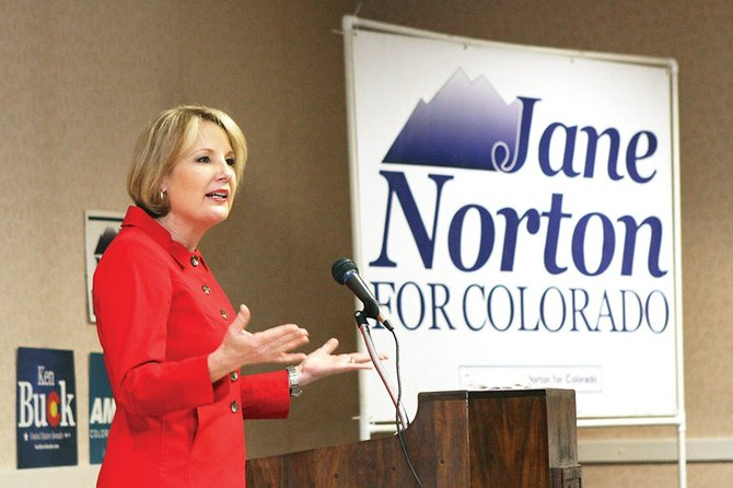 Jane Norton, former lieutenant governor of Colorado, delivers a speech during the Moffat County Republican Central Committee Lincoln Day Dinner on Saturday night at the Holiday Inn. Norton is running for the U.S. Senate.