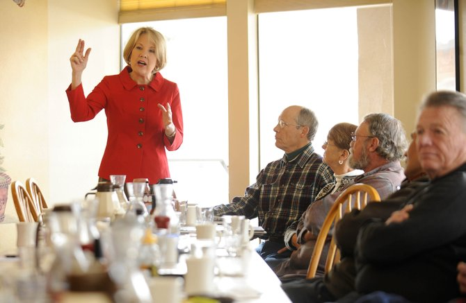 Jane Norton, Republican candidate for U.S. Senate, speaks during a breakfast meet and greet Saturday at the Egg & I Restaurant.