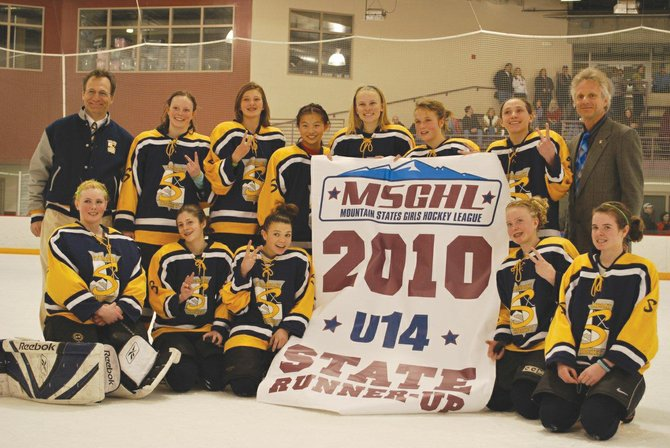 The Steamboat Springs U14 girls hockey team is back row from left, Fred Powers, assistant coach, Marley Loomis, Kelly Borgerding, Kestrel Johnston, Emma Wilson, Sara Stout, Kyla Taylor, Herald Stout, head coach, back row from left, Aleigh Aurin, Hannah Bashan, Megan Stabile, Olivia Gorr and Meg O'Connell.