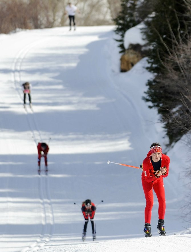 Lake Placid, N.Y., Nordic skier Spencer Knickerbocker leads his teammates on a training run Tuesday at Howelsen Hill. The team was preparing for the 2010 Junior Olympics, which start  Thursday in Steamboat Springs.
