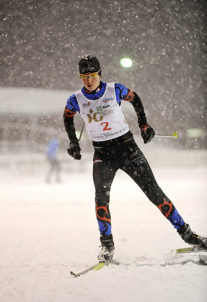 Steamboat Springs Winter Sports Club athlete Madison Keeffe begins her first leg of the Junior Olympics relay race Friday at Howelsen Hill. Keeffe won the women's J2 division.