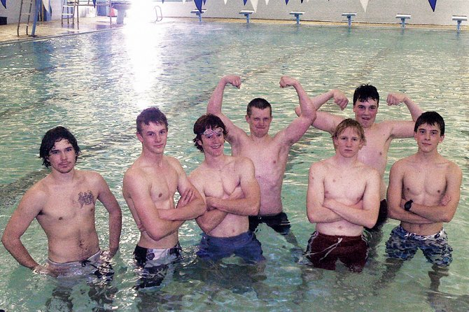 The MCHS boys varsity swim team's strength this year will come from a balanced attack, coach Meghan Francone said. Team members are, from left, Nick Glispy, Curtis Ellgen, Aaron Byram, Chance Peterson, Charlie Griffiths, John Kirk and Matt Hulstine.