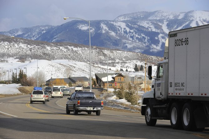 Traffic heads east on U.S. Highway 40 into Steamboat Springs on Tuesday. Traffic is being rerouted from Interstate 70 through Steamboat because of a rock slide near Glenwood Springs.