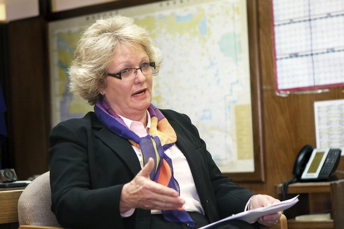 "Moffat County commissioner Audrey Danner explains her research methods and understanding of the Hatch Act during a news conference Wednesday at the Moffat County Courthouse. Danner said she ""could not ignore the implications to the county,"" that came from her learning of the Hatch Act."