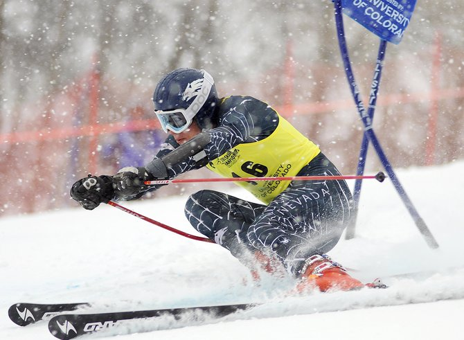 Martin Harris, of University of Nevada, Reno, skis Wednesday in the NCAA championship giant slalom event at Steamboat Ski Area.
