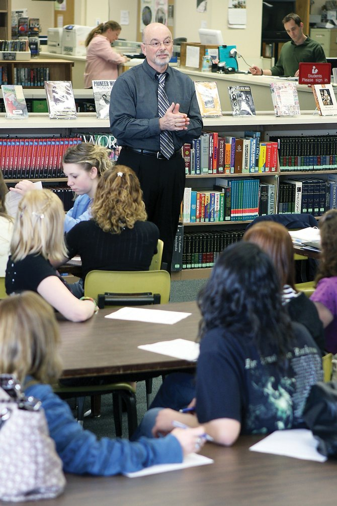 Joe Petrone, Moffat County School District superintendent, addresses questions from students about possible budget cuts during a student forum Thursday at the Moffat County High School library. The MCHS Student Council organized the forum to spur student involvement in the budget reduction process.