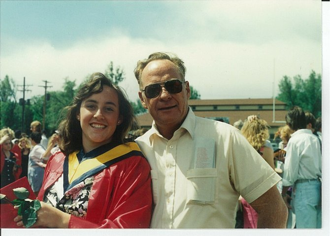Gayle Roberts and her father, former Hayden Mayor Richard Dick&#39; Roberts at her graduation from Central High School in Grand Junction in 1991.