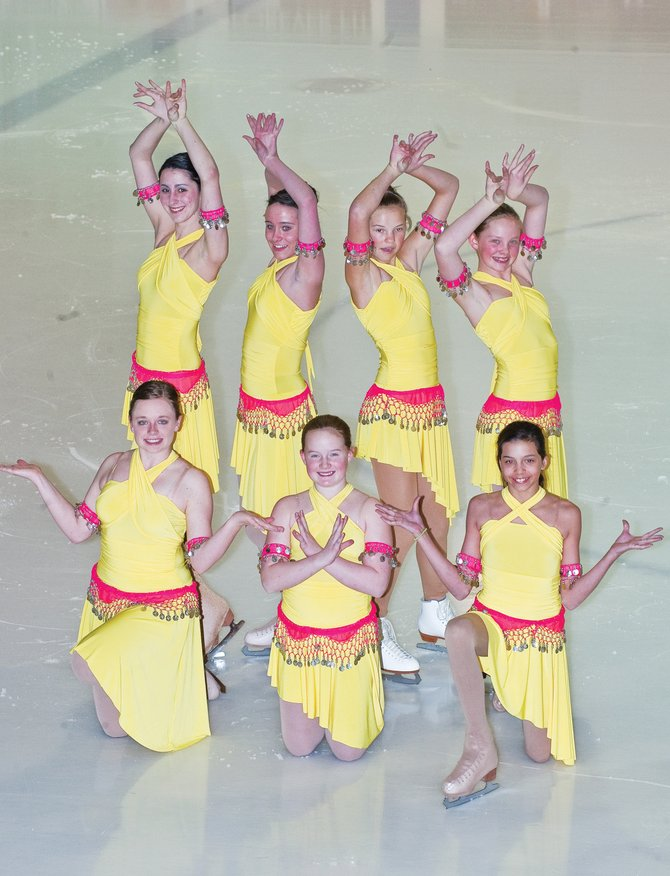"Steamboat Springs figure skaters, back row from left, Kaitlyn Espinosa, Heather Nereson, Kira Lorenzen and Jenna Miller, and front row from left, Sara Pugh, Hanna Haggarty and Patricia Davie perform a routine for ""Slumdog Millionaire"" during a dress rehearsal for the ""A Night at the Movies"" ice skating show. The Steamboat Springs Figure Skating Club is putting on the performances at 7 p.m. today and Saturday."