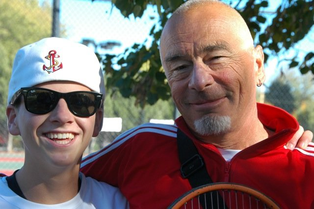 Jack Burger, left, and Don Toy take a moment after a tennis match. The Steam­boat Tennis Association is putting on a benefit for Toy from 2 to 4 p.m. March 28 to help support Toy's battle with polycystic kidney disease.
