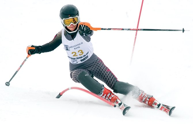 Steamboat Springs' Katie Hostetler clears a gate en route to a seventh-place finish during Friday's Colorado Junior FIS Championships (Millennium Cup) slalom race at Howelsen Hill. Vail's Anne Strong won the women's race, followed by Winter Park's Rylee Burrows and Vail's Elizabeth Strong. The top Steamboat finisher was Ciar Colgan, who placed sixth.