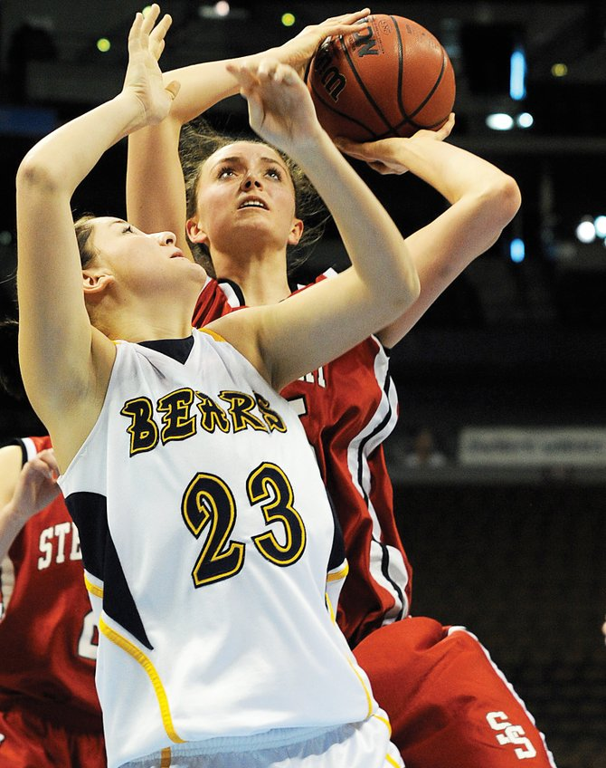 Steamboat senior Colleen King puts up a shot after grabbing an offensive rebound Feb. 11 in a game in Denver against Rifle. King was named to the first-team All Western Slope League.