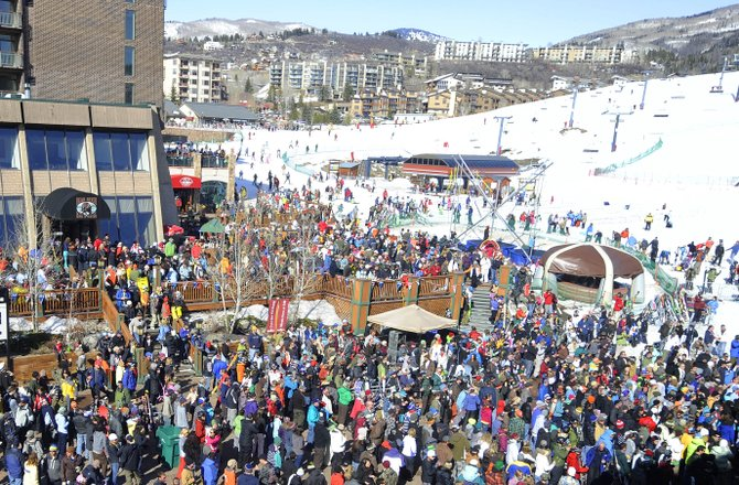 People fill Gondola Square as Lyrics Born performs a free concert Saturday at Steamboat Ski Area. The Urban Redevelopment Area Advisory Committee reported to the Steamboat Springs City Council on Thursday about construction of the new promenade at the base of the ski area but adjourned without making a recommendation about how best to spend the $4.5 million budget it has this summer.
