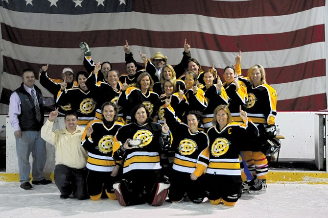 The Chix with Stix women's hockey team won its first Women's Association of Colorado Hockey B1 Championship on Sunday. Back row, from left: Lee Cox, Megan Palmer, Melanie Nimtz, assistant coach Mark Bucksen, Julia Wallace, Val Dietrich. Middle row: head coach Tim Shorland, Sue Heineke, Jen Travis, Diane Dwire, Heidi Chapman-Hoy, Lisa Owen, Jodi Lightfoot, Holly Barclay, Renee Dupre. Front row: assistant coach Zach Murphy, Shannon Forbes, Nikki Knoebel, Riley Polumbus, Cathy Wiedemer. Not pictured: Sarah Fox.