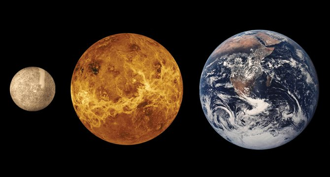 The two inner planets, Mercury, left, and Venus, middle, are visible together in our evening sky for the next two weeks, culminating with a close conjunction on Easter Sunday. In this NASA image, the planets are shown next to Earth to illustrate their relative sizes.