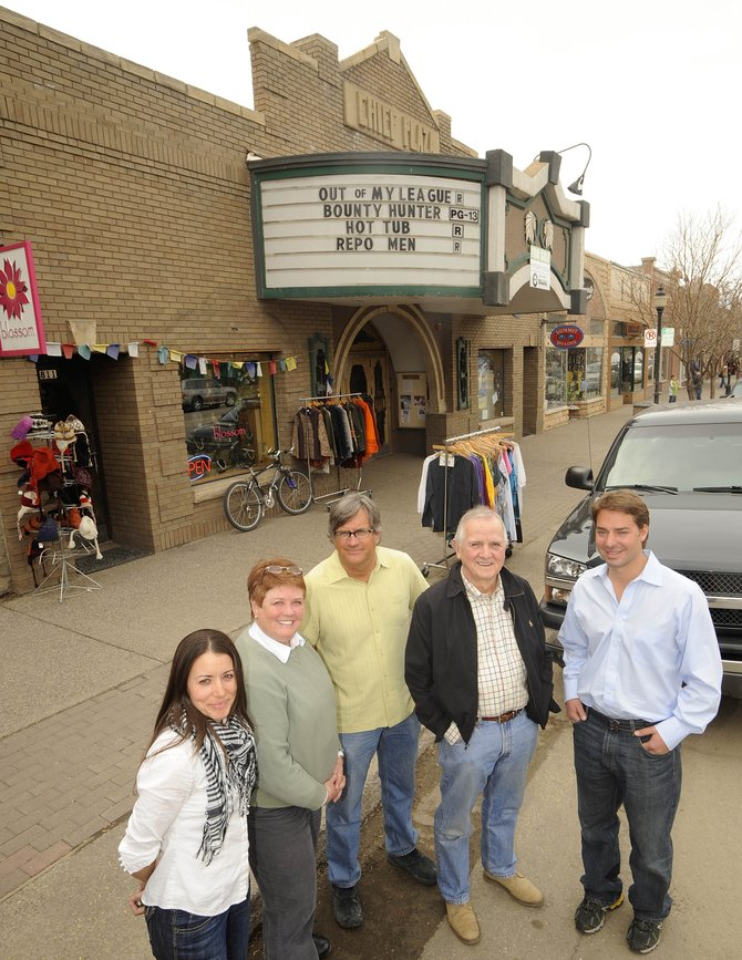 Valerie Stafford, from left, Tracy Barnett, Bill Rangitsch, Jim Cook and Jon Sanders are forming a nonprofit group with the intent to purchase and renovate the Chief Plaza Theater. The group envisions a single-stage performing arts venue that could draw local, regional and national acts as part of a cultural anchor for downtown Steamboat Springs.