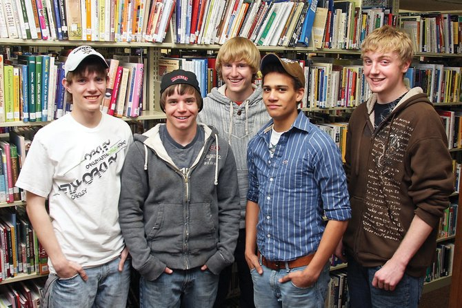 The Moffat County High School speech and debate team qualified five team members for nationals. They are, from left, Ryan Zehner, Greg Blackstun, Brodie Schulze, Curtis Lorio and Ryan Neece. Five students is the most MCHS has qualified for the national tournament, which takes place in June in Kansas City, Mo.