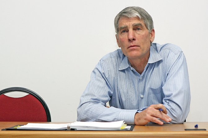 U.S. Sen. Mark Udall, D-Colo., listens to various local officials during an open discussion Friday at the Moffat County Courthouse. Officials from Moffat, Rio Blanco, Routt, and Jackson counties took part in the discussion. Among the topics discussed were the recent passing of House Bill 10-1365, and coal as an energy source.