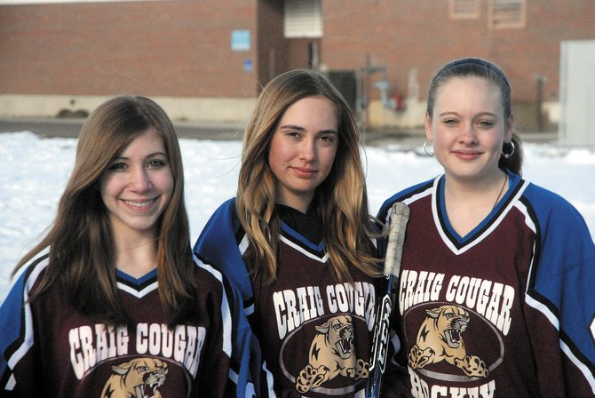 From left, Sarah White, Ripley Bellio and Taylor Shrode recently were selected to play in the May 5 to 9 Rocky Mountain District Player Development Camp in Salt Lake City. The players were teammates on the Craig Cougar bantam hockey team, which advanced to the March frozen four tournament in Gunnison.