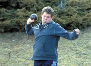 Moffat County High School Senior Jeremiah Gordon throws the shot put Monday during MCHS track and field practice. Competing Saturday at West Grand High School, Gordon won the discus competition by throwing 120 feet.