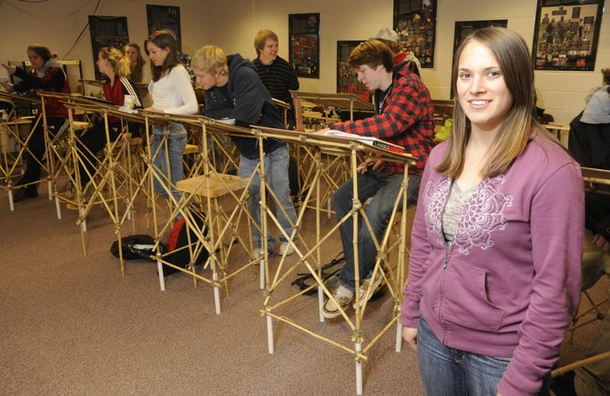 For her senior project, Steamboat Springs High School senior Lorin Paley created desks to study whether students learn better standing versus sitting. Last week was the second week of the experiment.