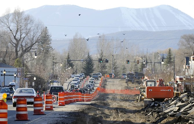 Traffic makes its way through downtown Steamboat Springs along Lincoln Avenue on Thursday evening when construction caused considerable delays for vehicles heading west during rush hour.