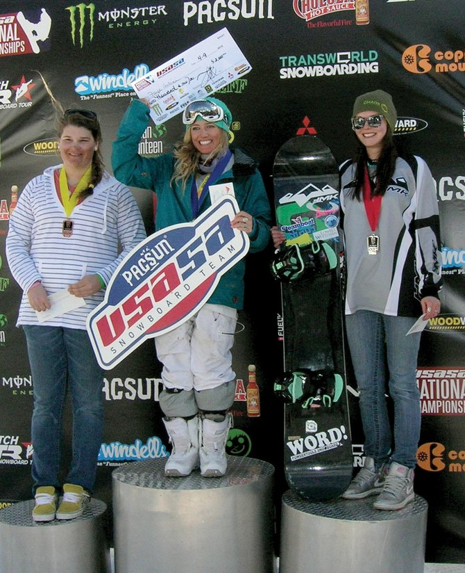 Steamboat Sprngs snowboarder Chloe Banning, right, stands on the podium at the USASA Nationals with Faye Gulini, center, and  Jackie Hernandez after placing second in the boardercross event at the USASA Nationals in Copper Mountain last week. Gulini won the event, and Hernandez was third.