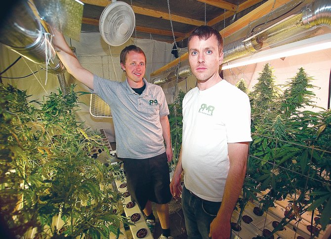 Kevin Fisher, left, and Ryan Fisher, co-owners of Rocky Mountain Remedies, won the Cannabis Crown in Aspen during the weekend for a strain of medical marijuana developed in Steamboat Springs with gardener Ray Thomas. The three men won a trophy and a trip to compete in the Cannabis Cup in Amsterdam in November.