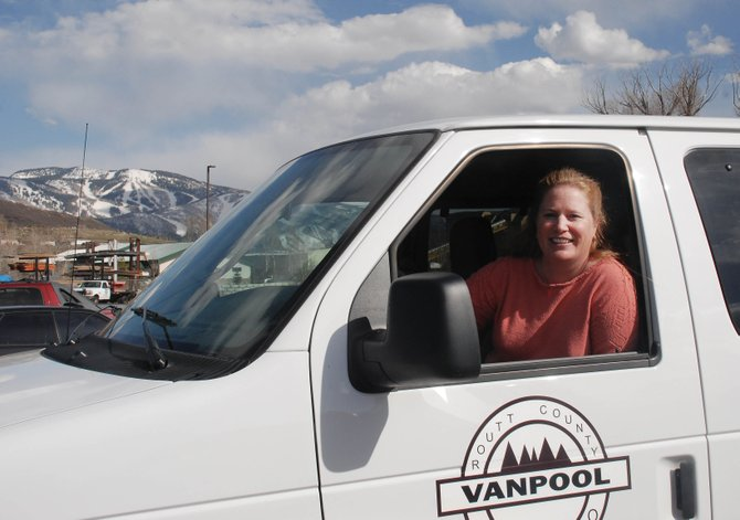 Stacy Hayes leaves work at the Routt County Justice Center on the west side of Steamboat Springs to pick up fellow South Routt commuters for the trip to Oak Creek.