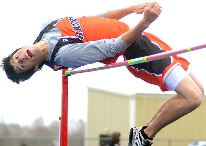 Haydens Rene Valdez clears the bar during the high jump competition at Fridays Hayden Invitational track meet in Craig.