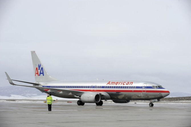 An American Airlines jet arrives at Yampa Valley Regional Airport on March 26. Passenger numbers were off about 9,000 compared with last season.