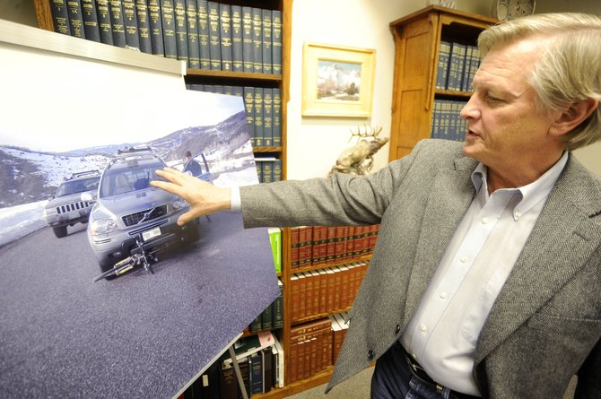 Steamboat Springs attorney Jim Heckbert explains Tuesday how his client, Wayne Ranieri, was hit by a vehicle driven by Kathy Whaley on March 19, 2009, near Lake Catamount. A Routt County jury recently awarded Wayne Ranieri and his wife, Julie, $2.4 million in damages.