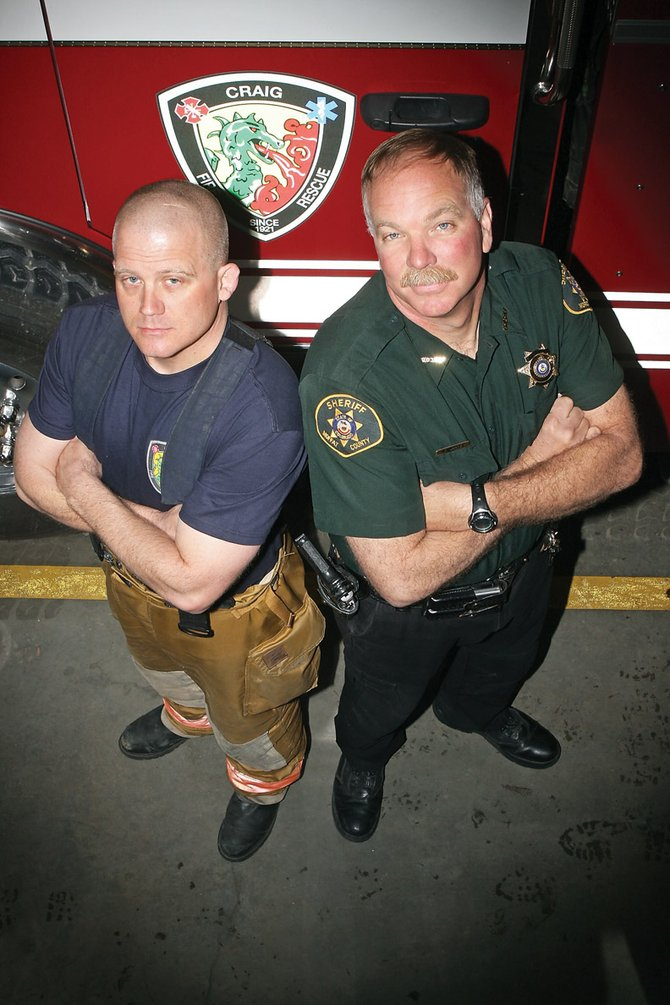 Craig Daily Press readers voted K.C. Hume, left, best firefighter and Tim Jantz, right, best law enforcement officer for the 2010 Best of Moffat County contest. Hume is a battalion chief with Craig Fire/Rescue, and Jantz is Moffat County shierff.
